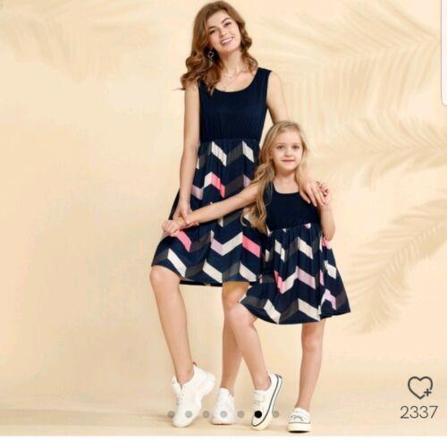 Partnerlook Mutter Tochter Kleid 3 St Schwarz Orange Weiss  M ca 98 110 NEU