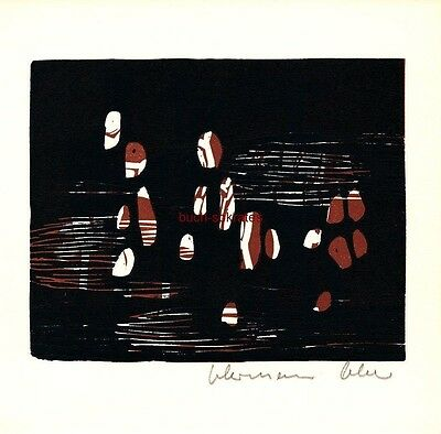 Graphik Linolschnitt Hermann Ober - Informel, Tachismus - 1966