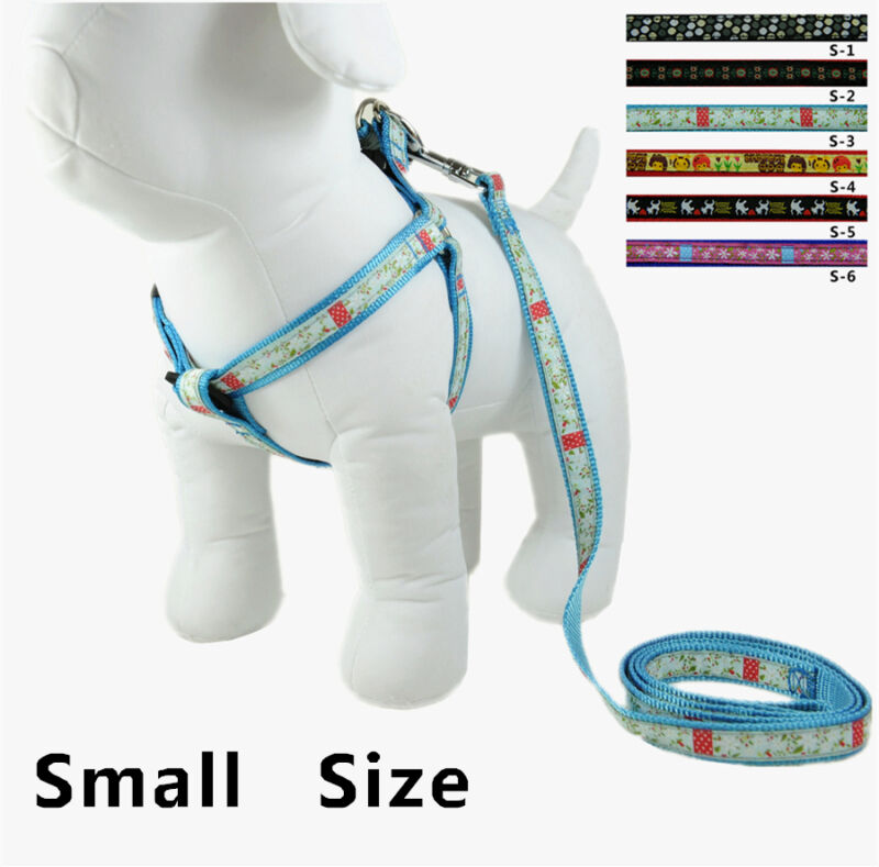 Wholesale Set Of 12 pcs  Dog Adjustable  Nylon  Harness  With Leash Size Small