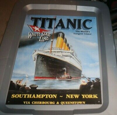 """TITANIC -- THE WORLD'S LARGEST LINER REPRO 12X16"""" TIN SIGN MADE IN USA"""