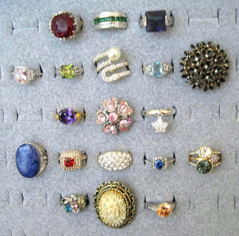 Costume Ring Lot Vintage/Mod Marked-.925 Crystals-CZ