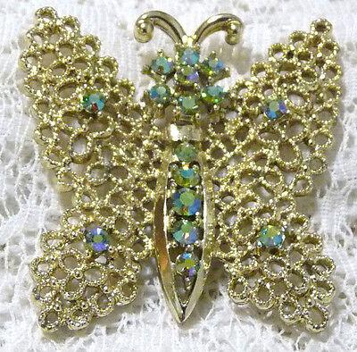 Vintage Gold Tone Green Aurora Borealis Rhinestone Butterfly Brooch/Pin  Z89*