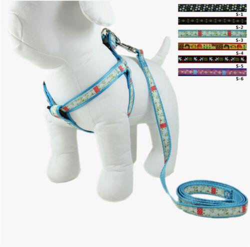 WHOLESALE 12PCS A SET DOG ADJUSTABLE NYLON HARNESSES WITH LEASH SMALL SIZE