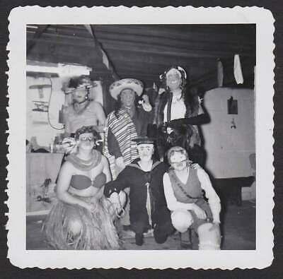 Creepy Old Halloween Masks (HALLOWEEN COSTUMES CREEPY FUNNY MASKS PARTY 1952 OLD/VINTAGE PHOTO SNAPSHOT-)