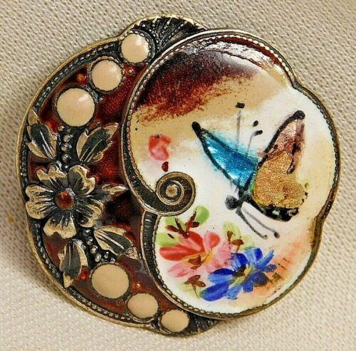Antique Vtg Button Emaux Peints Enamel BUTTERFLY w Pierreries NICE! #P1