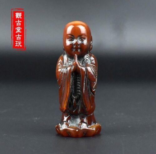 RARE TIBETAN BUDDHISM OLD OX HORN CARVED JIZO KSITIGARBHA MONK STATUE bh249