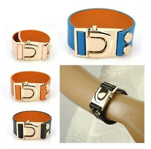 Women-Genuine-Leather-1-in-Wide-Bracelet-Animal-Bangle-Cuff-Buckle-Wristband