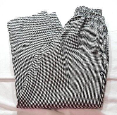 Chef Works Mens Womens S Black White Check Pants Elastic Drawstring Waist New
