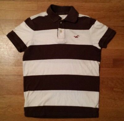 HOLLISTER Polo Shirt, Men's Small, Striped Brown White, Abercrombie