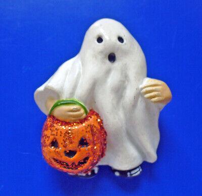 Fun World PIN Halloween Vintage GHOST Trick Treat GLITTER JOL Holiday Brooch
