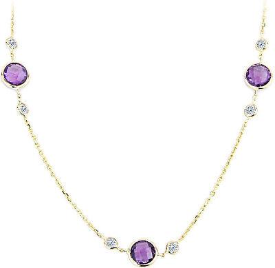 in Halskette mit Diamanten und Amethyst 16 CM (Lila Und Gelb Halskette)