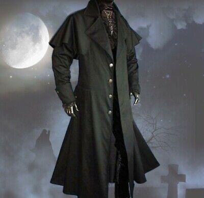 Gothic Mittelalter LARP schwarz Vampir Jäger Kutscher-Mantel Box Coat Belial