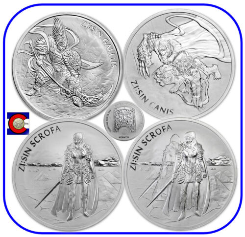 2017 2018 2019 South Korea ZI:SIN Gallus Canis Scrofa & Ghost 4-1oz Silver Coins