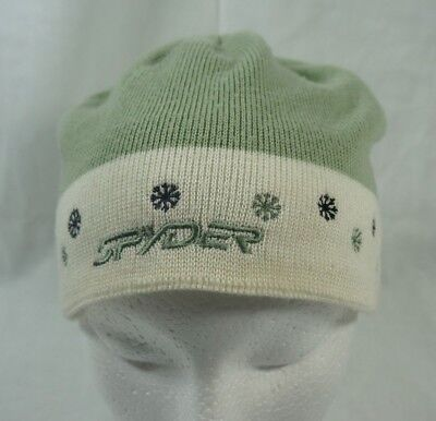 351c8e56dcc5a Spyder Ski Winter Knitted Beanie Hat Girls Green White Snowflakes