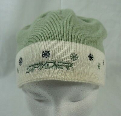 a68e1e5a8c0 Spyder Ski Winter Knitted Beanie Hat Girls Green White Snowflakes