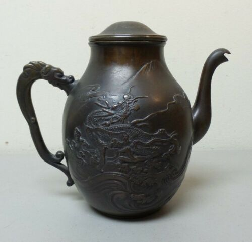 UNUSUAL ANTIQUE JAPANESE EMBOSSED BRONZE TEAPOT / COFFEE POT, DRAGON DESIGN