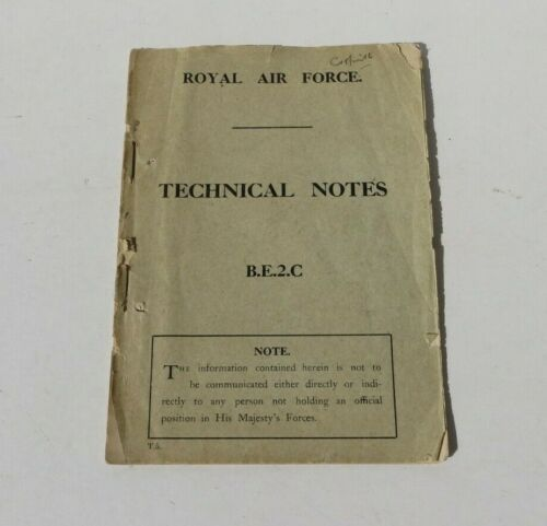 WW1 RAF Royal Air Force Technical Note Manual Book B.E.2.C BE2C Airplane Biplane
