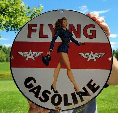 OLD VINTAGE FLYING A AVIATION GASOLINE PORCELAIN ENAMEL GAS MOTOR OIL PUMP SIGN