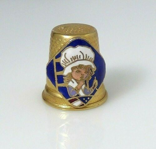 Vintage Betsy Ross Thimble Gold Metal Tone Enamel Sewing Flag Signed Vernon 74