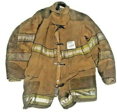 42x35 Globe Firefighter Brown Turnout Jacket Coat With Yellow Tape J853