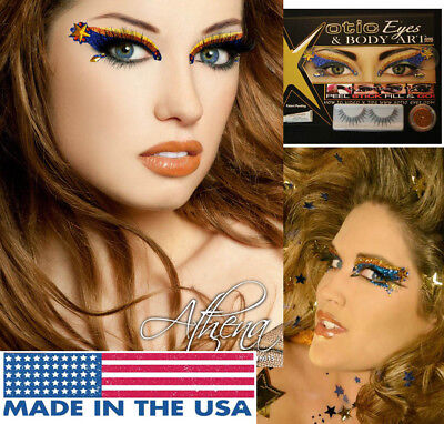 Athena Blue Gold Stars Rhinestones Glitter Easy  Eye Makeup Cosplay Costume - Easy Cosplay Costumes For Women