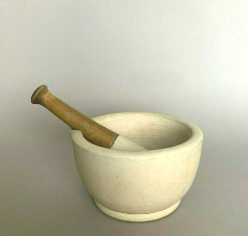 "Antique granite/stoneware Thomas Maddock MORTAR & PESTLE 8"" diameter Apothecary"