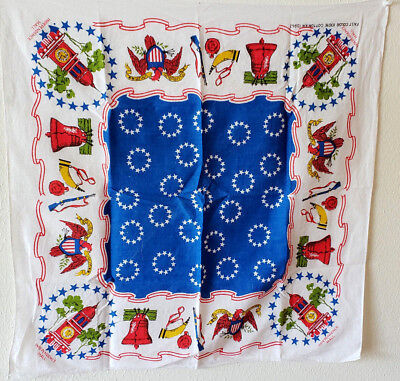Vtg Bandana Scarf Patriotic Liberty Bell Independence Hall Musket Red Blue USA for sale  Irving