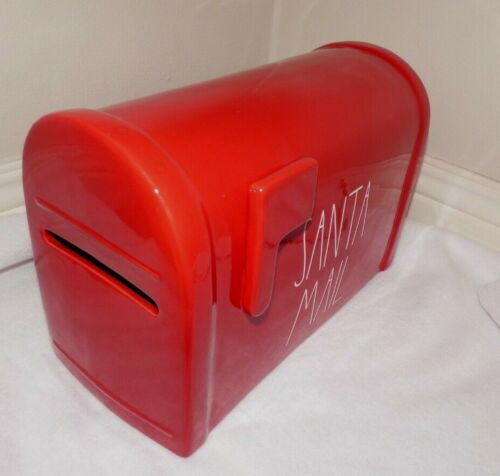 """RAE DUNN """" SANTA MAIL """" LARGE MAILBOX LOOKING DISPLAY PIECE RED W/ WHITE LL NEW"""