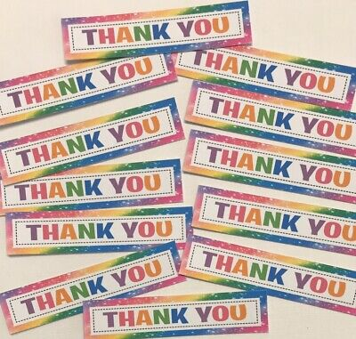 12 THANK YOU Sentiments/Banners Hand Made Card Toppers NEW RAINBOW COLOURS