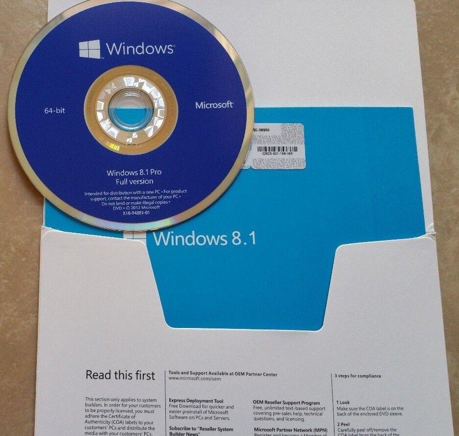 Microsoft Windows 8.1 Pro 64-bit Full English Version Wit...