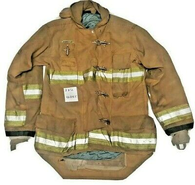 42x35.5 Morning Pride Firefighter Brown Turnout Jacket Coat W Yellow Tape J872