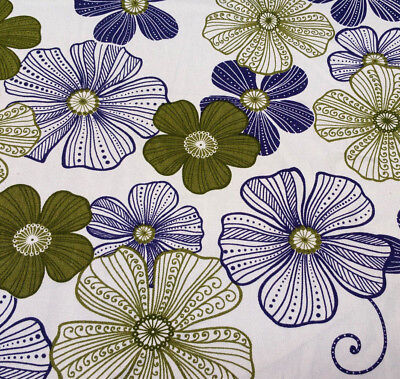 Contemporary Floral Fabric - Cotton Twill Floral Upholstery Fabric Contemporary Blue Lime Print By The Yard