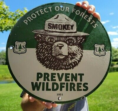 VINTAGE DATED 1951 SMOKEY THE BEAR PORCELAIN ENAMEL GAS STATION SIGN WILD FIRES