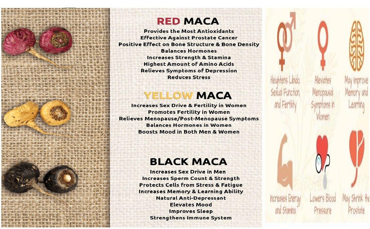 Organic maca root black red yellow 120 capsules peruvian maca extreme extract  3
