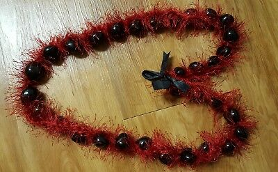 Hawaiian Wedding Grad Kukui Nut Red Eyelash Yarn Lei Necklace