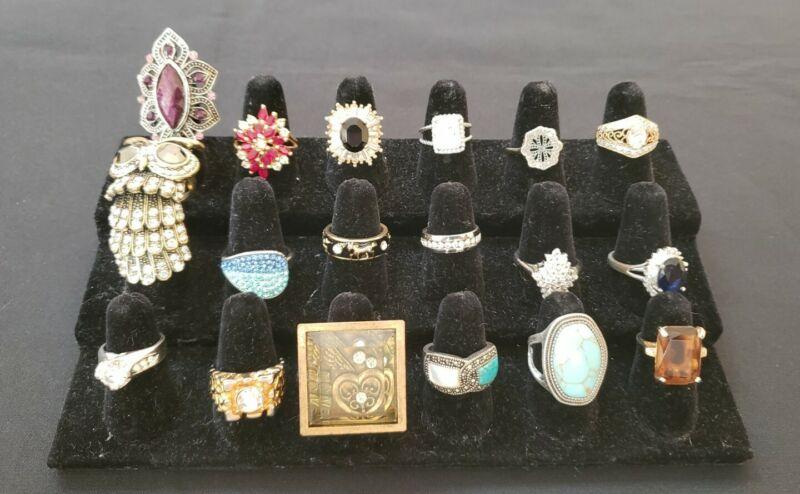 Gold tone silver tone rhinestone glass enamel crystal costume rings