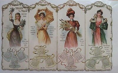 "Stunning Vintage 1900 Calendar w/ ""Belles of the Year"" w/ 4 Gorgeous Woman  *"