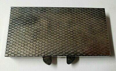 Vintage MCM Hinged Chrome Cigarette Case Holder Textured Silver Tone Kiss Clasp