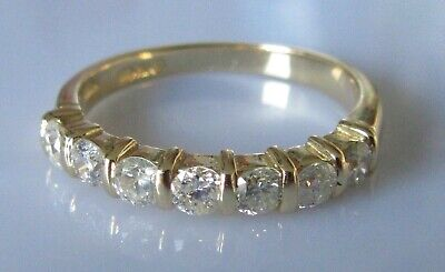 Secondhand 18ct yellow gold 7 stone (0.35ct) diamond half band ring size L