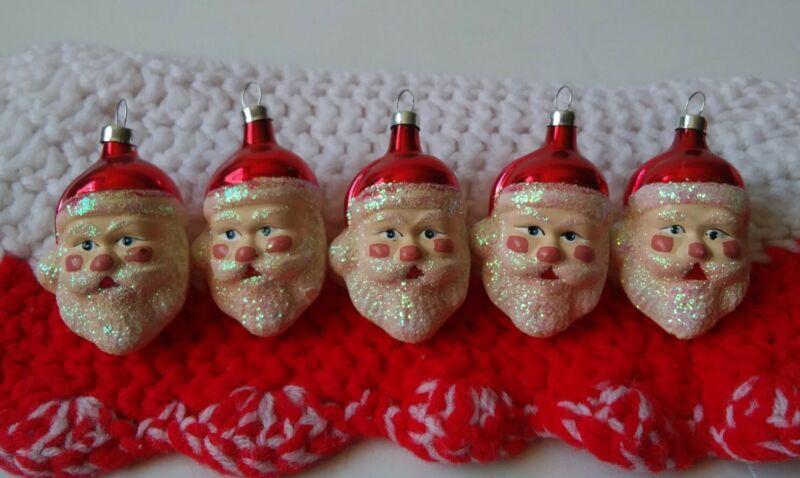 Lot of 5 Christmas Ornament SANTA Face / Head