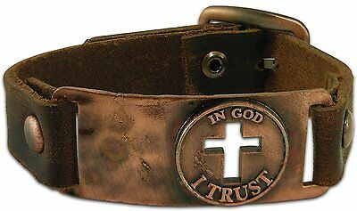 Men's Leather Bracelet, Christian, In God I Trust - by Kerusso