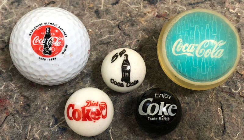 Three Vintage Coca-cola Marbles & 1997 High Bounce Ball