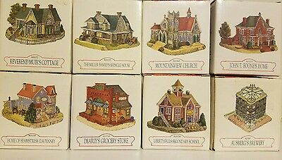 Lot of 8 Liberty Falls Americana Collection Buildings Houses W/ Boxes 1994 1998