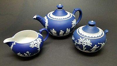 Vintage Wedgwood 3 Piece Tea Set Jasperware Dark Blue Teapot Creamer Sugar Bowl