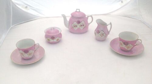 CHINA PORCELAIN TEA SET POT CREAMER SUGAR CUP SAUCER HAND PAINTED PINK ROSES