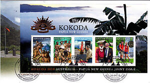 2010 KOKODA Australia & Papua New Guinea Remember FDC - M/Sheet with PNG Stamps