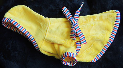 (Canine Plush Hooded Coat Small Toy Dog Yellow w/ Red White & Blue Trim Bow Snaps)