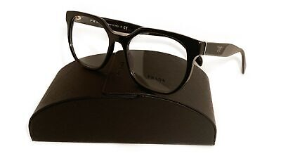 Prada Women's Square Shiny Black Glasses w/ Case VPR 02U 1AB-1O1 52mm