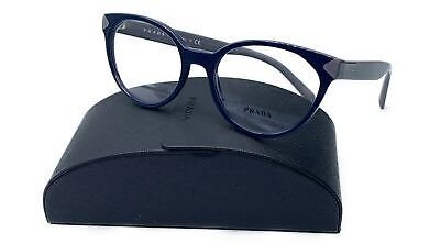 Prada Women's Blue Grey Shiny Glasses with case VPR 01T TFM-1O1 51mm