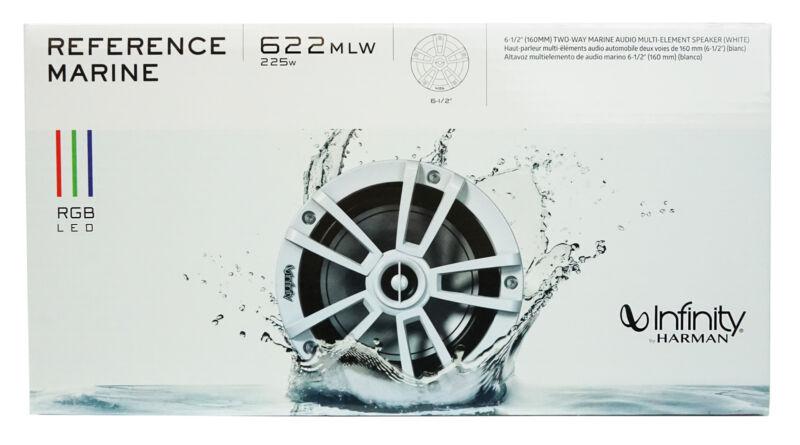 "Infinity 622MLW 6.5"" 2-Way Marine Speakers w/ RGB Lighting (Pair) White *622MLW"